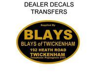 Blays of Twickenham Motorcycle Dealer Decal Transfer Sticker DQ110 BSA