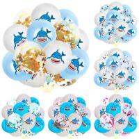 15pcs Shark Balloon Latex Confetti Balloons Birthday Party Baby Shower Decor