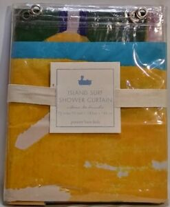 Pottery Barn Kids Island Surf PVC Shower Curtain 72x72 Inches Grommet Hole Top