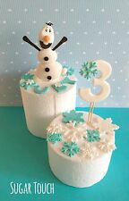 1 edible frozen olaf cake topper,number & snow flakes for frozen theme