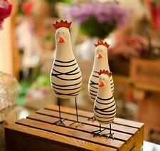 3 PCS Set Chicken Family Wood Home Table Desk Ornament Statue Figurine Gift