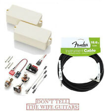 EMG P BASS IVORY ACTIVE REPLACEMENT PICKUP ( FREE FENDER 18 FT GUITAR CABLE )