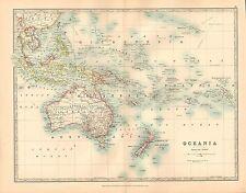 1911 LARGE VICTORIAN MAP ~ OCEANIA ~ AUSTRALIA NEW ZEALAND MICRONESIA POLYNESIA
