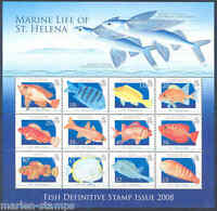 ST. HELENA MARINE LIFE FISH DEFINITIVE ISSUE OF 2008 SHEET OF 12 MINT NH