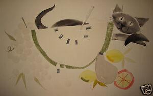 VINTAGE AMERICAN FOLK ART CUBIST CUBISM CAT WATERMELON SEED STILL LIFE PAINTING