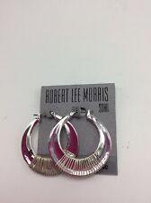 $35 Robert Lee Morris Silver Tone Wire Hoop Earrings Armored Architecture