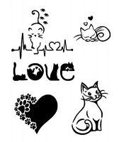 STENCILS CRAFTS TEMPLATES SCRAPBOOKING CAT LOVE  STENCIL - 10 A4 MYLAR