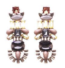 Allison-gold Arch Nude,Black & Grey Stone & Ombre Gem Statement Earrings(Zx188)