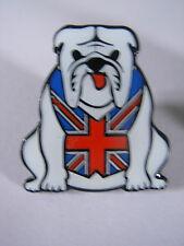 Bulldog pin badge. White Bulldog in Union Jack waistcoat. British V2