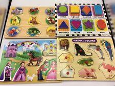 Wood Puzzle Lot Melissa & Doug Shapes Colors Animal Sounds Princess Castle