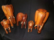 Original Handcarved Elephants From Africa Lot of 5 Trunks Down Very Rare Carving