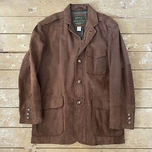 Men's Orvis Brown Leather Jacket Medium Blazer Style Nubuck Coat