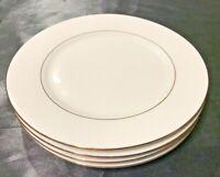 LYNN'S FINE CHINA VALENTINE SET OF 4 SALAD r DESSRT PLATES WHITE w/GOLD TRIM HTF