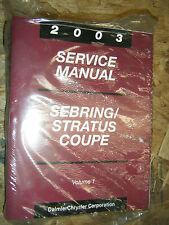2003 CHRYSLER SEBRING COUPE DODGE STRATUS COUPE FACTORY SERVICE MANUAL SET 03