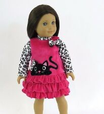 """Little black cat dress 18"""" doll clothes fits American Girl AG"""