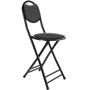 NEW Black Padded Folding High Chair Breakfast Kitchen Bar Stool Seat Home Office