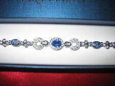 Stunning Sapphire / Cz Bracelet - Sterling Silver - Extra Long - New