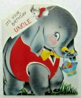 Norcross Happy Birthday Uncle Baby Elephant Vintage Greeting Card 1957 Ephemera