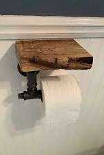 Rustic Toilet Paper Holder With Live Edge Shelf Reclaimed Wood Industrial Pipe