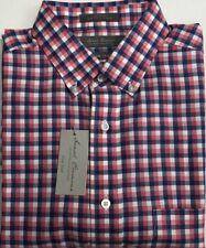 Daniel Cremieux Men's Casual Short Sleeve Shirt BRT Melon Plaid Size L $17.50