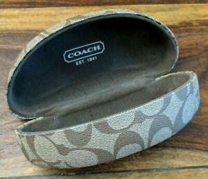 Coach Clamshell Sunglass Eyeglass Case Hard Shell Khaki Brown Signature C Design