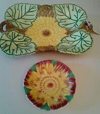 VTG Majolica-Style Sunflower Serving Set: Double Handled Tray + Crown Devon Dish