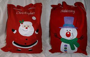 Personalised Embroidered  Xmas Sack / Stocking Father Christmas / Santa Snowman