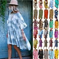 Plus Size Women Holiday Boho T Shirt Dress Loose Summer Beach Tunic Sun Dress US