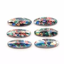 (6) large 20x8mm Czech vintage foil marble paperweight oval glass cabochons