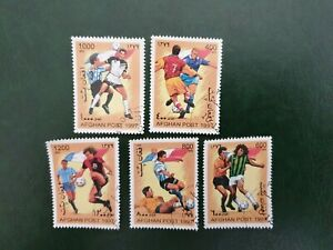 5 afghan post football stamps - Nice Examples