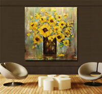 ZWPT1252 100% hand painted abstract  yellow flowers oil painting art on Canvas