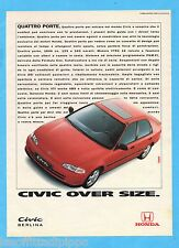 QUATTROR992-PUBBLICITA'/ADVERTISING-1992- HONDA CIVIC BERLINA