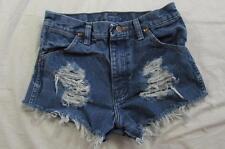 "Womens 26"" Zipper Fly Wrangler Cut Off Denim Shorts Jeans Distressed Boyfriend"