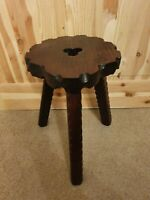 "Vintage Wooden arts and crafts style carved milking stool 14"" tall"