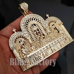 HIP HOP ICED RAPPER LAB DIAMOND GOLD PLATED JUMBO LAST SUPPER CHARM PENDANT
