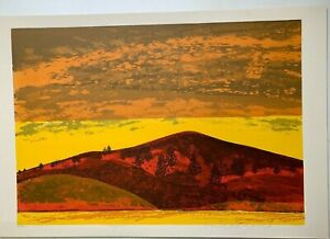 """Howard Bradford Mid-Century Signed Serigraph Print Titled """"Tranquility"""" 1977"""