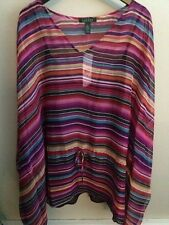 NWT~RALPH LAUREN PLUS~STRIPED V-NECK KIMONO SLEEVE TOP w/ CAMI~SIZE 2X~NEW~$135