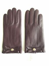 COACH TURNLOCK BOW LEATHER GLOVES  SIZE 8 PLUM NWT MSRP $125