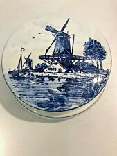 DELFT Hand Painted BLUE WHITE Trinket Box WINDMILL Sailboat house water Holland