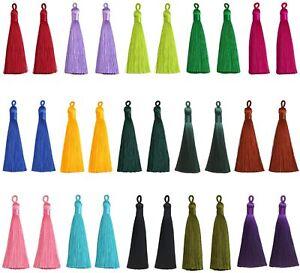 "2 Pieces Silky Tassels Trim Pendant DIY Key 3"" Jewelry Making Craft Supplies"