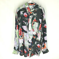 GOOUCH Men's XL Long Sleeve Shirt Silk Button-Up 90s Abstract Art NWT VTG