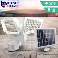 3-Head 188 LED Solar Wall Light PIR Motion Sensor Adjustable Garden Lamp Outdoor