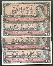 Canada  2 Dollar $2 (1954) Circulated Banknote - Mixed Signatures