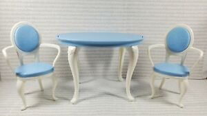 N1 ~ FURNITURE ~ BLUE WHITE DINING ROOM TABLE & CHAIRS TEA TIME WITH MY FRIENDS