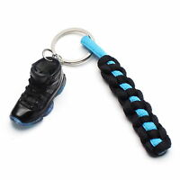 3D Mini Sneaker Shoes Keychain Black Gamma Blue With Strings for Air Jordan 11