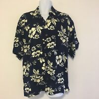 Mango Moon Mens Shirt sz XL Blue Hawaiian Floral Short Sleeve Button Up AB1