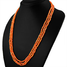 AMAZING 3 STRAND 91.50 CTS NATURAL RICH ORANGE CARNELIAN FACETED BEADS NECKLACE