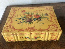 Vintage Large Italian Hand Painted  Floral Florentine Tole Jewelry Vanity Box