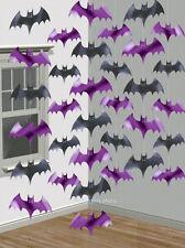 6 x Halloween Party Decorations Hanging Bat Strings Foil Dangling Bats