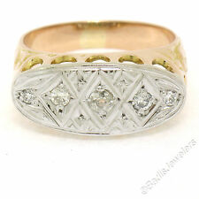 Antique Men's 14K Two Tone Gold Mine & Transitional Cut Diamond Etched Band Ring